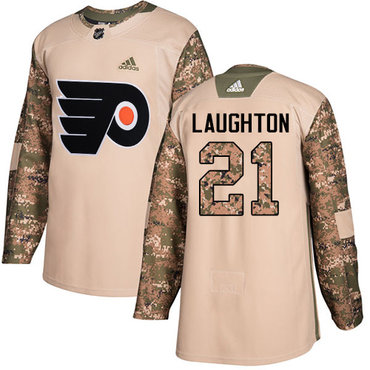 Adidas Flyers #21 Scott Laughton Camo Authentic 2017 Veterans Day Stitched NHL Jersey