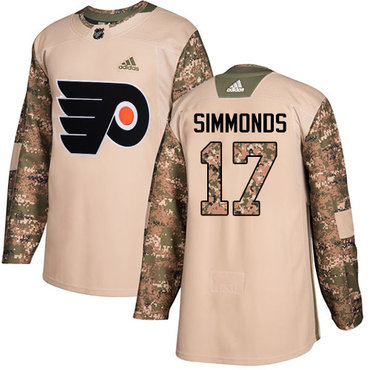 Adidas Flyers #17 Wayne Simmonds Camo Authentic 2017 Veterans Day Stitched NHL Jersey