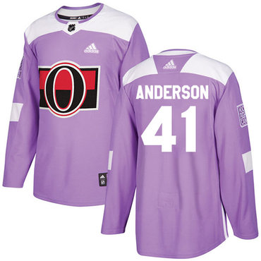 Adidas Senators #41 Craig Anderson Purple Authentic Fights Cancer Stitched NHL Jersey