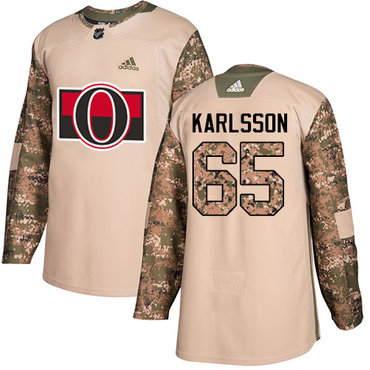 Adidas Senators #65 Erik Karlsson Camo Authentic 2017 Veterans Day Stitched NHL Jersey