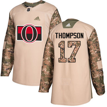 Adidas Senators #17 Nate Thompson Camo Authentic 2017 Veterans Day Stitched NHL Jersey