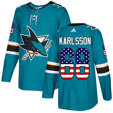 Adidas Sharks #68 Melker Karlsson Teal Home Authentic USA Flag Stitched NHL Jersey