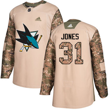 Adidas Sharks #31 Martin Jones Camo Authentic 2017 Veterans Day Stitched NHL Jersey