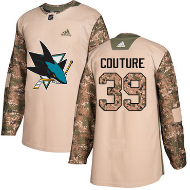 Adidas Sharks #39 Logan Couture Camo Authentic 2017 Veterans Day Stitched NHL Jersey