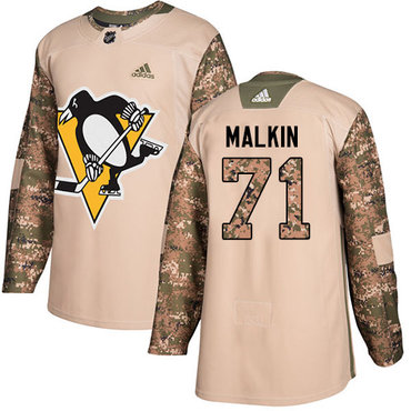 Adidas Penguins #71 Evgeni Malkin Camo Authentic 2017 Veterans Day Stitched NHL Jersey