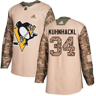 Adidas Penguins #34 Tom Kuhnhackl Camo Authentic 2017 Veterans Day Stitched NHL Jersey