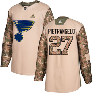 Adidas Blues #27 Alex Pietrangelo Camo Authentic 2017 Veterans Day Stitched NHL Jersey