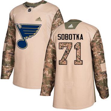 Adidas Blues #71 Vladimir Sobotka Camo Authentic 2017 Veterans Day Stitched NHL Jersey