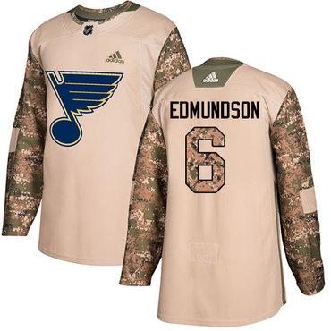 Adidas Blues #6 Joel Edmundson Camo Authentic 2017 Veterans Day Stitched NHL Jersey