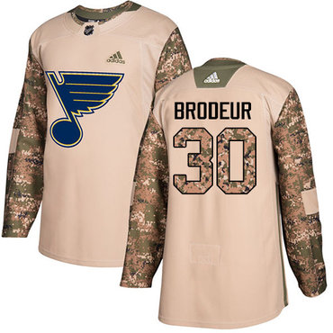 Adidas Blues #30 Martin Brodeur Camo Authentic 2017 Veterans Day Stitched NHL Jersey
