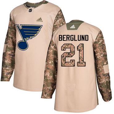 Adidas Blues #21 Patrik Berglund Camo Authentic 2017 Veterans Day Stitched NHL Jersey