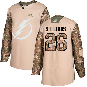 Adidas Lightning #26 Martin St. Louis Camo Authentic 2017 Veterans Day Stitched NHL Jersey