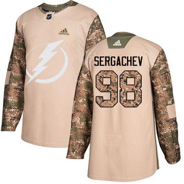 Adidas Lightning #98 Mikhail Sergachev Camo Authentic 2017 Veterans Day Stitched NHL Jersey