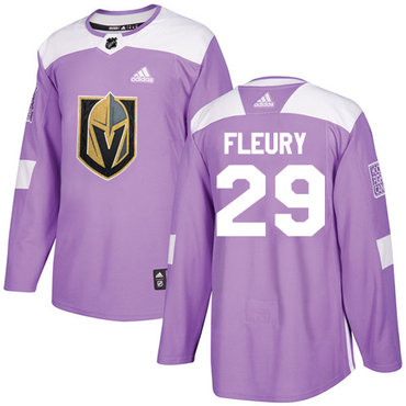 Adidas Golden Knights #29 Marc-Andre Fleury Purple Authentic Fights Cancer Stitched NHL Jersey