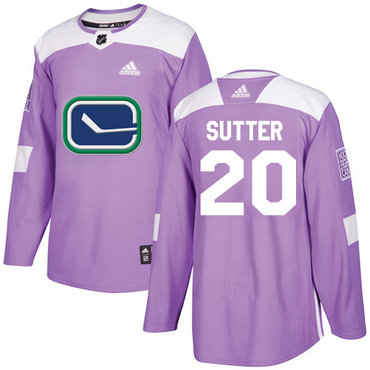 Adidas Canucks #20 Brandon Sutter Purple Authentic Fights Cancer Stitched NHL Jersey