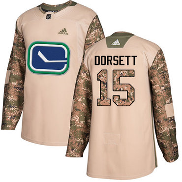Adidas Canucks #15 Derek Dorsett Camo Authentic 2017 Veterans Day Stitched NHL Jersey