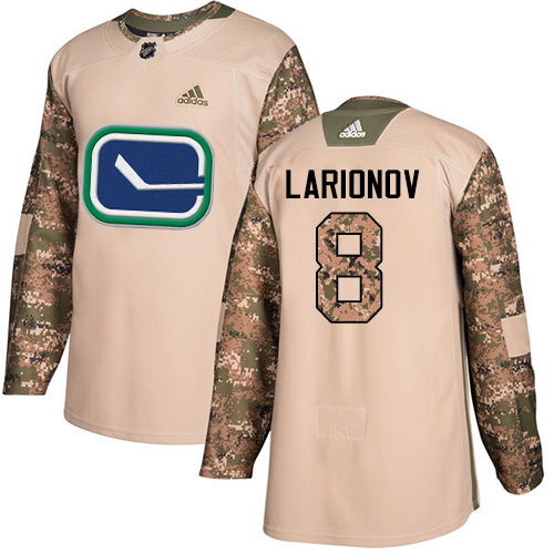 Adidas Canucks #8 Igor Larionov Camo Authentic 2017 Veterans Day Stitched NHL Jersey