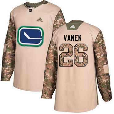 Adidas Canucks #26 Thomas Vanek Camo Authentic 2017 Veterans Day Stitched NHL Jersey