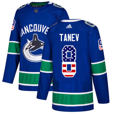 Adidas Canucks #8 Christopher Tanev Blue Home Authentic USA Flag Stitched NHL Jersey