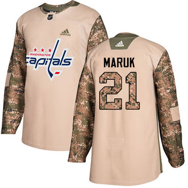 Adidas Capitals #21 Dennis Maruk Camo Authentic 2017 Veterans Day Stitched NHL Jersey