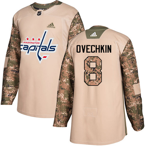 Adidas Capitals #8 Alex Ovechkin Camo Authentic 2017 Veterans Day Stitched NHL Jersey