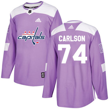 Adidas Capitals #74 John Carlson Purple Authentic Fights Cancer Stitched NHL Jersey