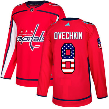Adidas Capitals #8 Alex Ovechkin Red Home Authentic USA Flag Stitched NHL Jersey