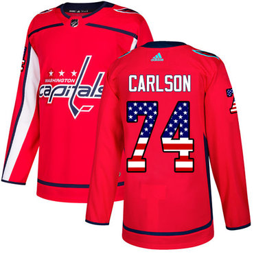 Adidas Capitals #74 John Carlson Red Home Authentic USA Flag Stitched NHL Jersey