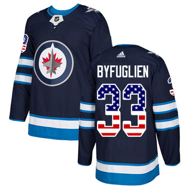 Adidas Jets #33 Dustin Byfuglien Navy Blue Home Authentic USA Flag Stitched NHL Jersey