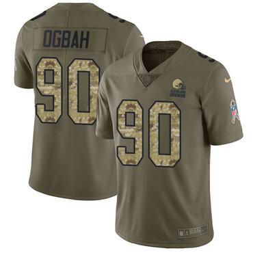 Nike Browns #90 Emmanuel Ogbah Olive Camo Men's Stitched NFL Limited 2017 Salute To Service Jersey