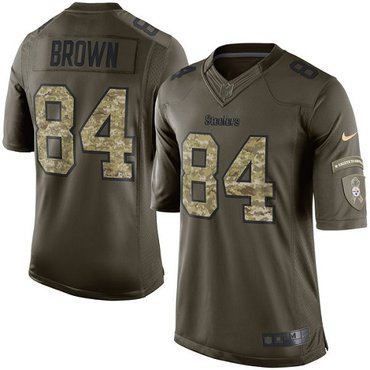 Nike Steelers #84 Antonio Brown Green Men's Stitched NFL Limited 2015 Salute to Service Jersey