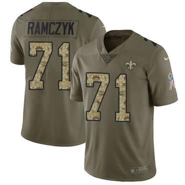 Nike Saints #71 Ryan Ramczyk Olive Camo Men's Stitched NFL Limited 2017 Salute To Service Jersey