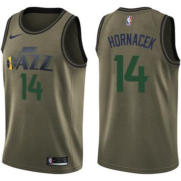 Nike Jazz #14 Jeff Hornacek Green Salute to Service NBA Swingman Jersey