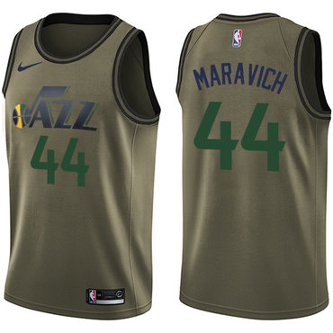 Nike Jazz #44 Pete Maravich Green Salute to Service NBA Swingman Jersey