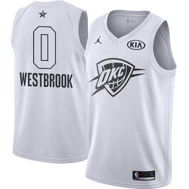 Nike Thunder #0 Russell Westbrook White NBA Jordan Swingman 2018 All-Star Game Jersey