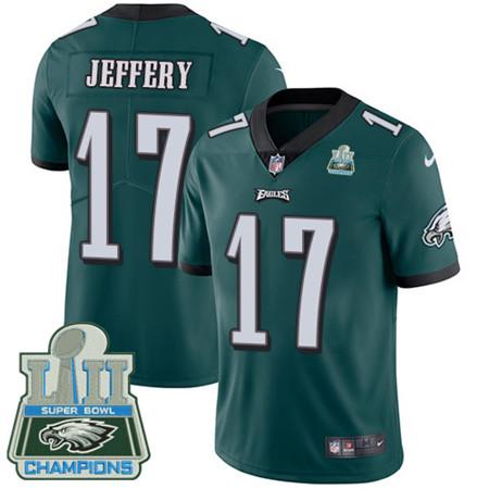 Nike Eagles #17 Alshon Jeffery Midnight Green Team Color Super Bowl LII Champions Men's Stitched NFL Vapor Untouchable Limited Jersey