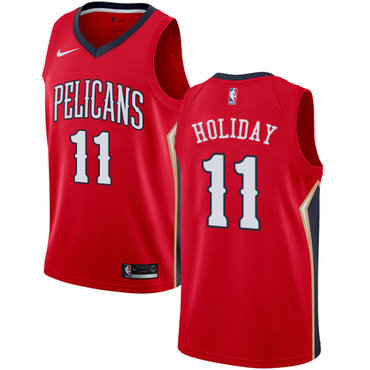 Nike New Orleans Pelicans #11 Jrue Holiday Red NBA Swingman Statement Edition Jersey