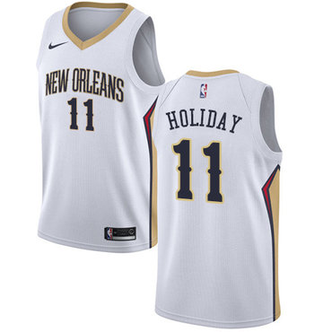 Nike New Orleans Pelicans #11 Jrue Holiday White NBA Swingman Association Edition Jersey