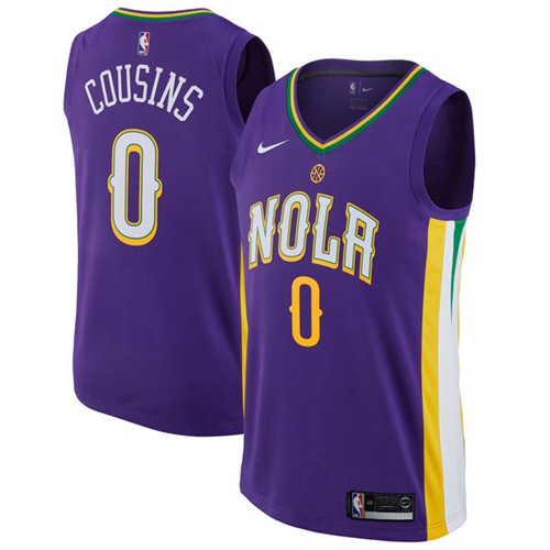 Nike New Orleans Pelicans #0 DeMarcus Cousins Purple NBA Swingman City Edition Jersey