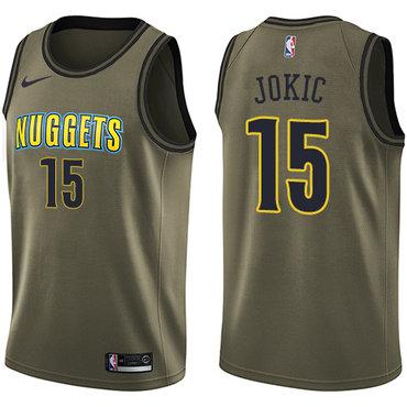 Nike Denver Nuggets #15 Nikola Jokic Green Salute to Service NBA Swingman Jersey