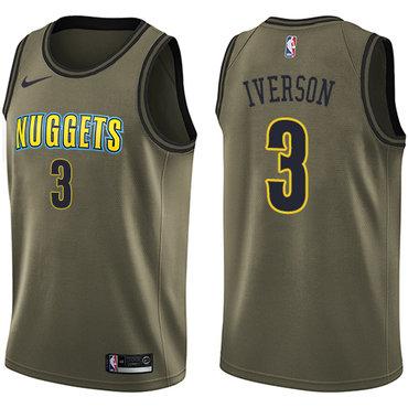Nike Denver Nuggets #3 Allen Iverson Green Salute to Service NBA Swingman Jersey