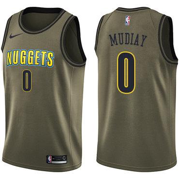 Nike Denver Nuggets #0 Emmanuel Mudiay Green Salute to Service NBA Swingman Jersey