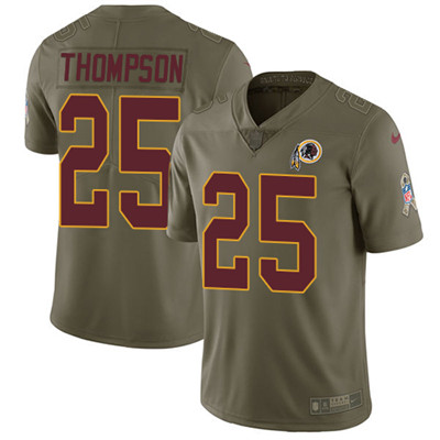 Youth Nike Washington Redskins #25 Chris Thompson Olive Stitched NFL Limited 2017 Salute to Service Jersey