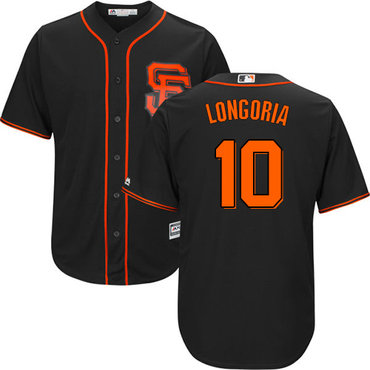 San Francisco Giants #10 Evan Longoria Black New Cool Base Alternate Stitched MLB Jersey