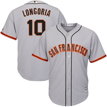 San Francisco Giants #10 Evan Longoria Grey New Cool Base Road Stitched MLB Jersey