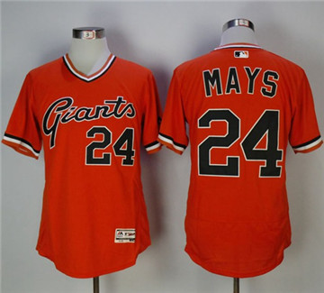 San Francisco Giants #24 Willie Mays Orange Flexbase Authentic Collection Cooperstown Stitched MLB Jersey