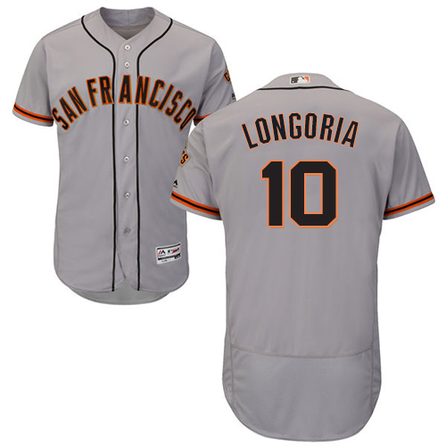 San Francisco Giants #10 Evan Longoria Grey Flexbase Authentic Collection Road Stitched MLB Jersey