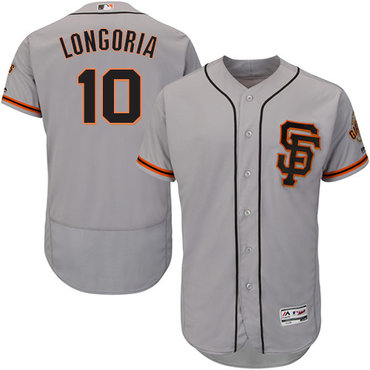 San Francisco Giants #10 Evan Longoria Grey Flexbase Authentic Collection Road 2 Stitched MLB Jersey