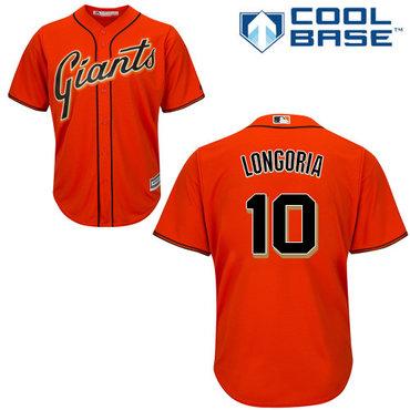 San Francisco Giants #10 Evan Longoria Orange New Cool Base Alternate Stitched MLB Jersey