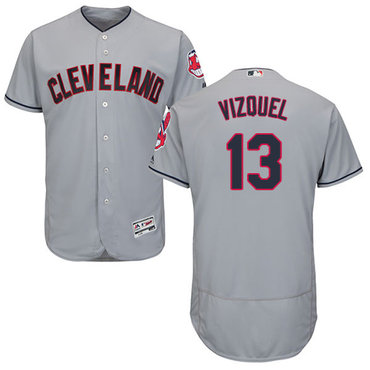 Cleveland Indians #13 Omar Vizquel Grey Flexbase Authentic Collection Stitched MLB Jersey